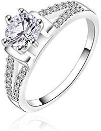 sunifsnow Mujer Color Blanco Piedra Fine diseño de piedra anillo de declaración de moda regalos de boda
