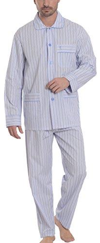 El búho nocturno - pigiama due pezzi lunghi a righe da uomo, abbigliamento da notte classico per signori - popeline, 100% cotone - taglia xxxl - blu chiaro
