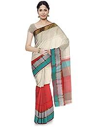 Mahima Emporium Maheshwari Handloom Cotton and Silk Saree (Red)