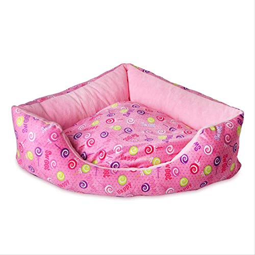 AIMEENI Haustiernest Süße Prinzessin Pet Nest Dreieck Lollipop Kleine Hund Haus Abnehmbare Waschen Komfort Matte S:62x45 rosa