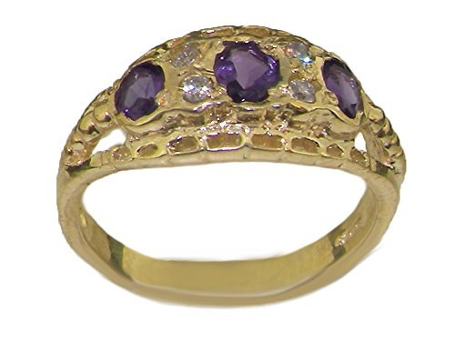 Solid 9ct Yellow Gold Natural Amethyst & Cubic Zirconia CZ Eternity Band Ring - Size Z - Sizes J to Z Available (Solid Cz-band Yellow Gold 14k)