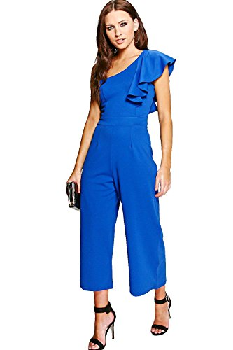 Femmes Cobalt Amy Combinaison Une Épaule À Volants Cobalt