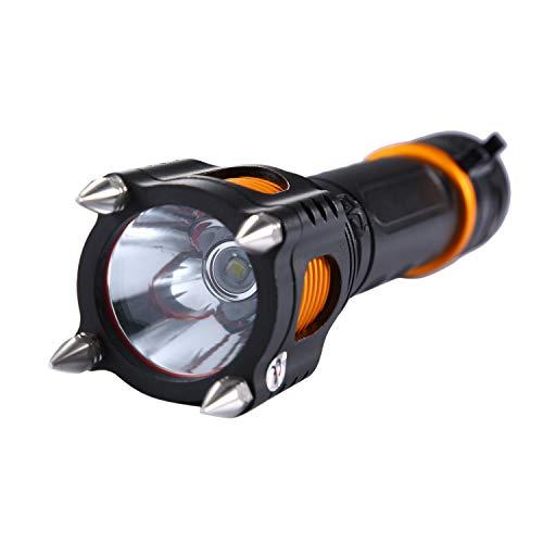 Asvert LED taktische Taschenlampe T6 Selbstverteidigung Zoomable 5 Licht Modi mit 18650 Akkus Wand Ladegerät und Batterie Tube für die Kampierende Jagd Notfalltaschenlampe, Schwarz (Taschenlampe Elektroschocker)