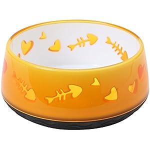 Catit Futternapf mit rutschfestem Boden, Motiv Fischgräten und Herzen, 300ml, Orange