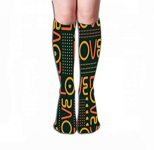 ouyjian Print Women's Knee High Socks Athletic Over-The-Calf Tube 19.7
