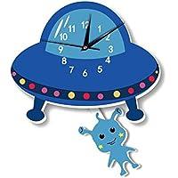 Alien de dibujos animados de fondo de reloj de pared decoración de la habitación para niños