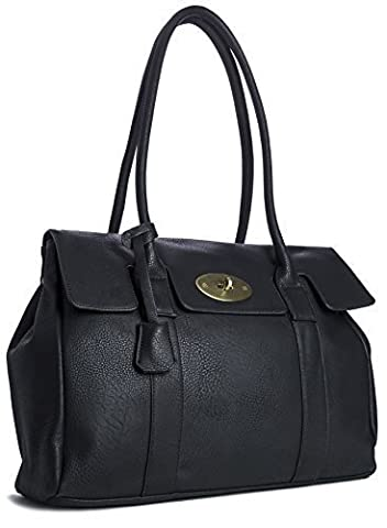 Big Handbag Shop Womens Faux Leather Designer Boutique Shoulder Bag (D1172 Black)