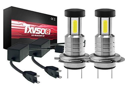 TXVSO 110W 26000LM H7 Kit faro per auto a LED 3 lati 6000K Lampade bianche, 55W/lampadina, 2 pezzi/set, sostituzione per luci alogene e xeno o fascio basso, con Canbus/deco
