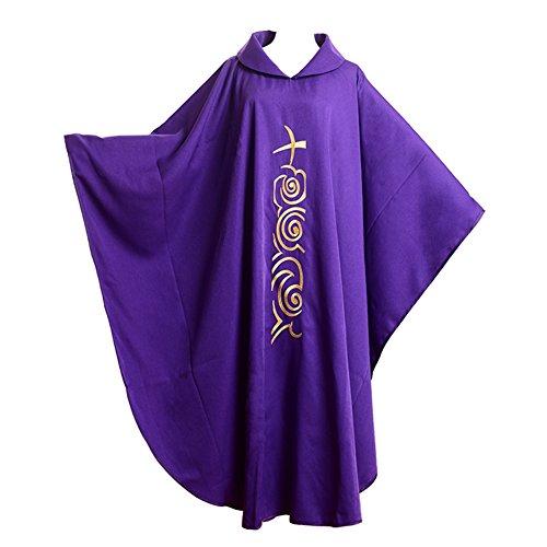 Für Erwachsenen Priester Männer Kostüm - BLESSUME Kirche Priester festes Muster Kasel Vestments Lila (Style#1)