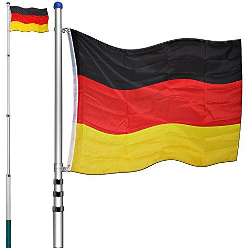 Deuba Aluminium Teleskop Fahnenmast | 6,30m | Bodenhülse 60cm | inkl Deutschlandfahne | Flaggenmast Mast Flagge Alu