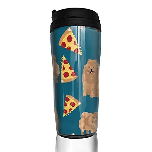 Pomeranian Dog 18513 Kaffeetasse mit süßem Hund, Pom Hund, Pizza Food_ 340 ml, auslaufsicher, Flip Deckel, Wasserflasche, umweltfreundliches Material ABS
