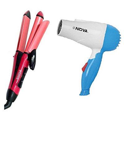CPEX 8328 Nova 2 in 1 Hair Straightener (NHC 2009) Curler Hair Beauty Set And Nova Foldable Dryer Combo Pack