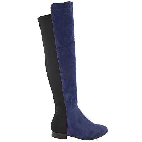 ESSEX GLAM Damen Königsblau Wildlederimitat Flach Schenkelhoch StretchLangschaft Pirat Stiefel EU (Frauen Piraten Stiefel Für)