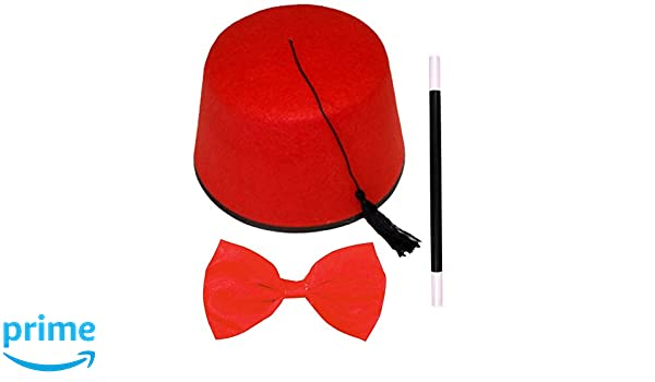 Adults Fez Hat Red Budget Bow Tie Magic Wand Moroccan Turkish Fancy Dress Set