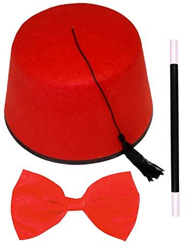 Labreeze Erwachsene Fez Hut rot Budget Fliege Magic Zauberstab marokkanisch türkisch Kostüm Set