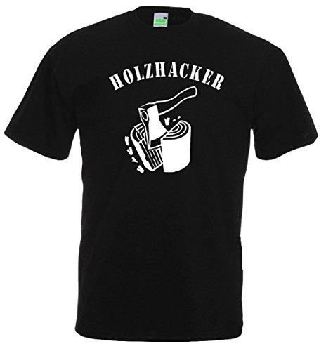 Holzhacker T-Shirt für Waldarbeiter Forstarbeit Holz Wald Holzmacher, Premiumshirt von Bimaxx® Schwarz