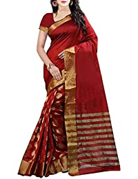 Tryme Fashion Women's Cotton Silk Saree With Blouse Piece (Try.Fab Saree 220_Red)