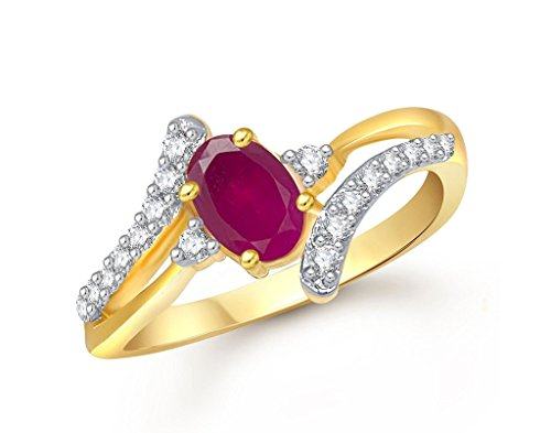 Lady touch Ruby 24K Gold Ring For Girls & Women In American Diamond Cubic Zirconia Ring Fr408  available at amazon for Rs.245