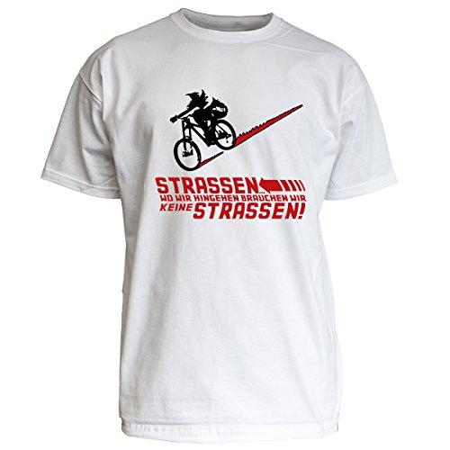 Nukular T-Shirt 'STRASSEN... WO WIR HINGEHEN BRAUCHEN WIR KEINE STRASSEN!', Farbe weiss, Größe XL