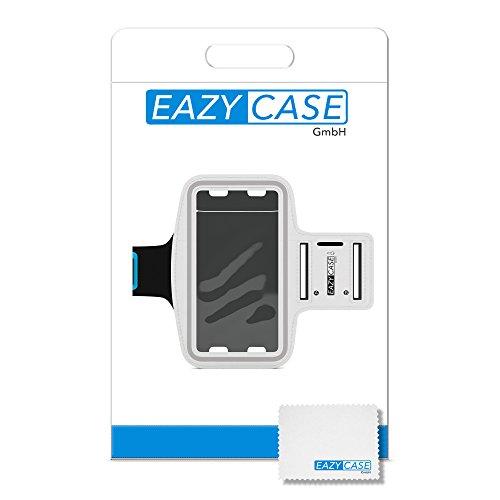 EAZY CASE Sport Armband, Fitness Armband Schweißbeständig Weich für Laufen, Bergsteigen, geeignet für alle Smartphones bis 5.5 Zoll wie Apple iPhone 7 Plus, Samsung Galaxy S7 Edge und mehr in Weiß - 6
