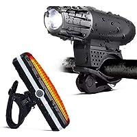 Carriea Luces Bicicleta Delantera y Trasera, LED Luz de Bicicleta Potente Delantera, USB Recargable Impermeable Luz Bicicleta