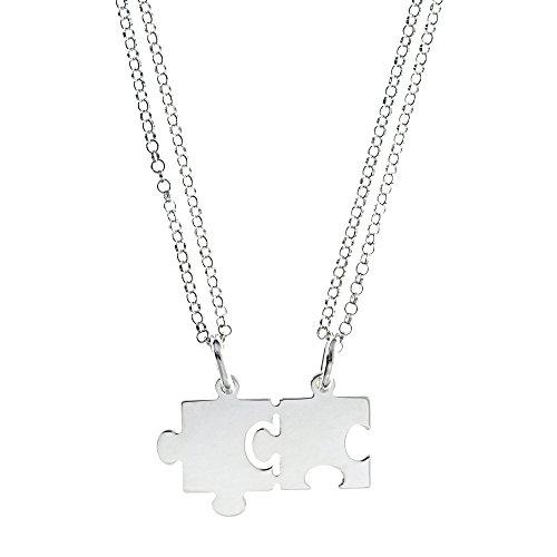 Córdoba Jewels | Gargantilla de Plata de Ley 925 bañada en rodio. Diseño Piezas Puzzle