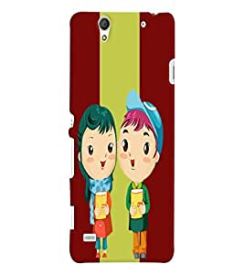 Fuson Love Couple Back Case Cover for SONY XPERIA C4 - D3740