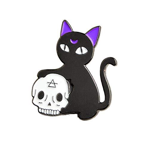 Haptian Halloween Gothic Schmuck Hexe Hand Magie Kristallkugel Schädel Katze Brosche Pins(1Stück)