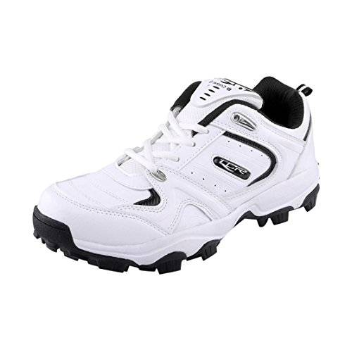 Lancer Men's L-CRICKET SHOE WHT-BLK-42 White & Black PU Sports Running Shoes 8 UK