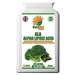419nKfEvk4L. SS300  - NutriSol Health Alpha Lipoic Acid (ALA) 300mg 120 Vegan Capsules   50-50 Blend RALA and SALA   Daily ALA Supplement…