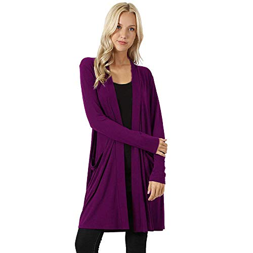 ZHRUI Damen Open Front Fly Away Cardigan Pullover Langarm Plus Taschen lose Drape Coat (Farbe : Lila, Größe : CN 3XLUK 16) -