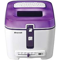 Brandt FRI2500E - Friteuse - Minuterie électronique avec écran LCD - Cuve amovible et filtre anti-graisse métallique - Capacité de la cuve 2,5 L/capacité du panier 1,2 kg - Blanche et violette