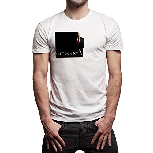 Hitman Absolution Art Agent 47 Killer Black And White Two Sides Background Herren T-Shirt Weiß