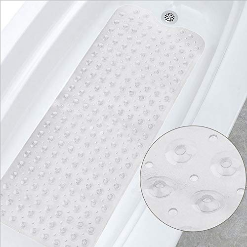 UNUBER Bath mat Extra Long Non-slip Environmental TPR Rubber Bath Mat Shower Tub Mat with Suction Cup,100*40CM Non-Toxic blue Powerful Suction Cup Gripping