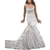 GEORGE BRIDE Spaghetti Strap Sexy Perle Cappella treno elastico tessuto abito da sposa