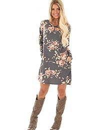 ea77bb520590 Kleid Damen Floral bedrucktes Kleid Sweatshirt Langarm Minikleid Abendkleid  Hoodie Cocktailkleider Herbst Winter…