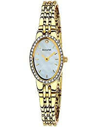 Accurist Women's Quartz Watch with Mother of Pearl Dial Analogue Display and Gold Stainless Steel Bracelet Lb1346P