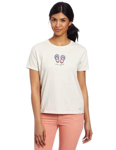 Life is Good Damen Patriotische Flip Flops Crusher Tee XXL Ash White (Damen-t-shirts Patriotische)