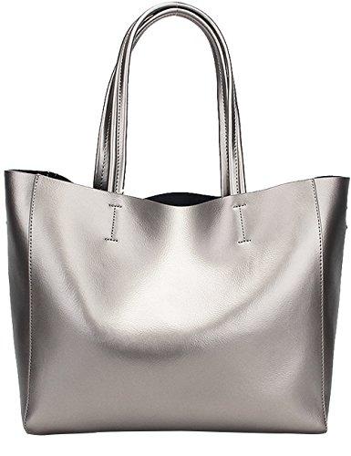 Menschwear Damen Echtes Leder Handtasche Elegant Taschen 2pcs Rot Silber