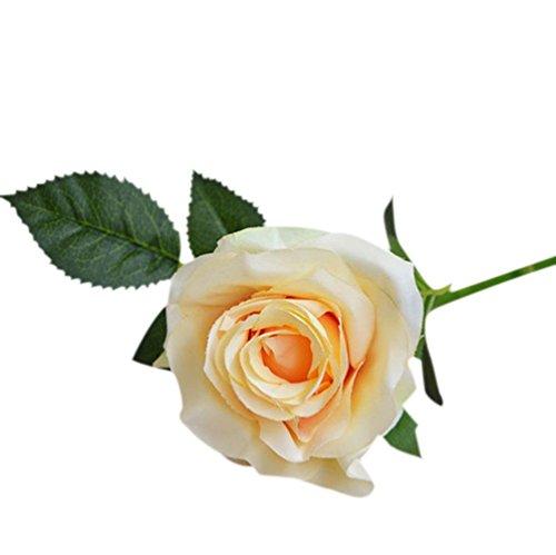 Coloré(TM) Feuille artificielle Rose Faux Soie Artificielle Fleur De Mariage Nuptiale Bouquet Décor À La Maison laisser la simulation laisse le mariage décor à la maison. Décor Floral le Bouquet de Fleurs Fête de Mariage (Jaune)