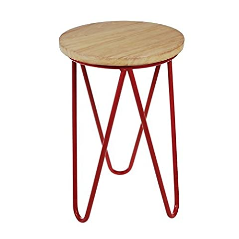 Red Fifties Style Wooden Stool by