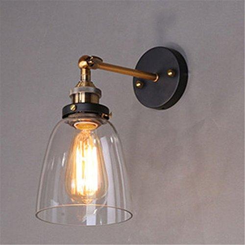 ferandhome Antik Wandleuchte von Feuer Lampe Wand Leuchte Edison industriellen Stil Glas klar Form Glocke Flur Durchmesser 14,5cm (Glocken Applique)