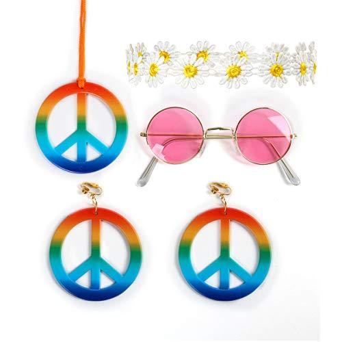 Funhoo Hippie Kostüm Accessoires Set Ohrringe Brille Blumenkranz Kette mit Friedenszeichen für Halloween Fasching 60er 70er Party Outfit Zubehör (Style (Hippie Paar Kostüm)
