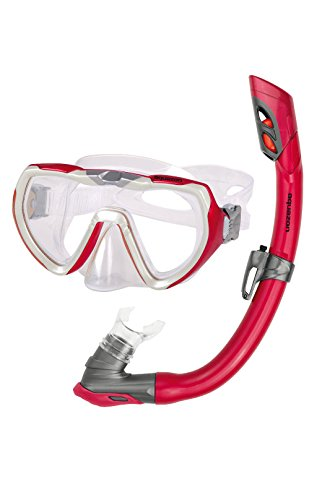 Aquazon Schnorchelset Starfish, Schnorchelbrille und Schnorchel, für Jugendliche von 8-15 Jahren und Damen, Rot