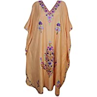 Mogul Interior Women Kaftan Dress Peach Embroidered Cruise Dress Kimono Caftan One Size