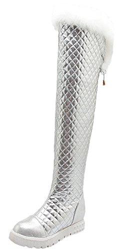 HooH Damen Overknee Stiefel Winter Warm Fake Rabbit Fur Rhombus Platform Knie hoch Stiefel Silber 42 EU (Faux Knee Suede High Boots)
