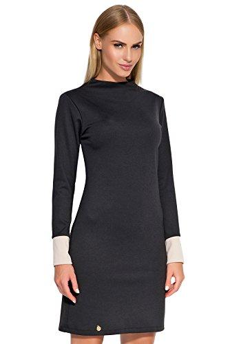 Makadamia - Robe - Cocktail - Manches Longues - Femme noir noir/beige Noir/Beige