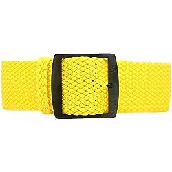 DaLuca Braided Nylon Perlon Watch Strap - Yellow (PVD Buckle) : 20mm