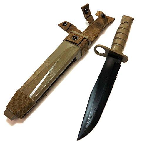 Airsoft Softair Ausrüstung CYMA Weich Gummi Kunststoff M10 Messer (Nicht-Sharp-Fälschungs-Messer) mit Scheide Tan Brown