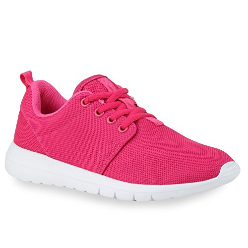 Damen Sportschuhe | Übergrößen | Trendfarben Runners | Sneakers Laufschuhe | Fitness Prints White Pink